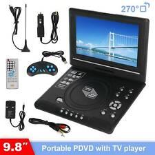 9.8'' HD TV Portable DVD Player LCD 270° Swivel Screen + Remote Control UK