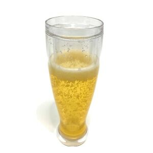"""Fake Double Layer Beer Cup Glass with Foam Fizz 9"""" tall"""