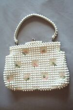 Grandee Bead 1950 Bag White Clear Beads, Green & Pink Flowers