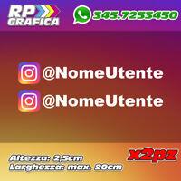 COPPIA 2 ADESIVI INSTAGRAM sticker USERNAME nome AUTO MOTO colori