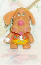 "VINTAGE 1986 VINYL & CLOTH WRINKLES GIRL PUPPY DOG 3 1/4"" FINGER PUPPET EUC"
