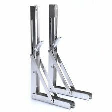 Pairs Polished Stainless Steel Folding Shelf Max Load: 330lb, Short Arm NEW