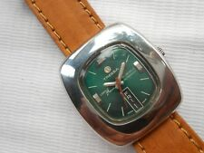 SWISS RARE VTG GREEN DIAL TRESSA LASE BEAM SS SQUARE CASE GENTS AUTOMATIC WATCH
