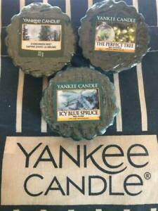 New x3 Yankee Candle Wax Melts Tarts Evergreen, Perfect Tree, Icy Blue Spruce