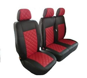 Seat Covers ECO Leather BLACK-RED Volkswagen VW Transporter T5 T6 (2+1)