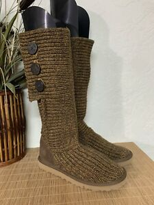 UGG Australia Brown 3 Button Tall Knit Carly Boots Size 7