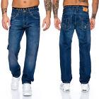 LORENZO jeans pantaloni uomo blu Aspetto Usato Denim Vintage ll-2515 NUOVO