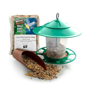 Garden Hanging Bird Seed Feeder Set inc Feeder, Scoop and 500g Extra Select Feed