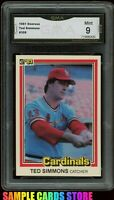 1981 Donruss #308 Ted Simmons Graded GMA 9 MINT (PSA 9?) ~ Cardinals HOF