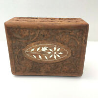 Vintage Inlaid Hand Carved Floral Wooden Hinged Jewelry Trinket Box
