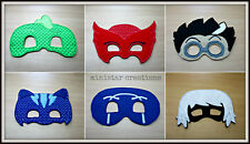 Handmade Kids Mask - PJ Mask 6 x Masks - Cat Boy, Gecko, Owlette + Villians!