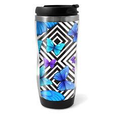 Pretty Blue Butterflies Travel Mug Flask - 330ml Coffee Tea Kids Car Gift #8661