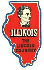 "ILLINOIS   IL   ""Lincoln Country""   Vintage 1950's Looking Travel Decal Sticker"