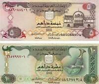 UAE 2 Notes  5 ,10  Dirhams Uncirculated Crisp