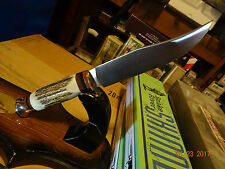"""LINDER OF SOLINGEN 9"""" """"TRAVELLER"""" STAG HANDLE FIXED BLADE KNIFE 420 STAINLES WOW"""