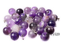 Wholesale 10pcs Natural Amethyst Stone Silver Plated Beads Pendant fit necklace