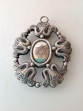 Antique original Italy Judaica silver amulet baby bed cradle 19TH (m1748)