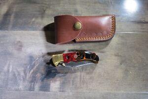 Beautiful Damascus folding blade knife wood & ceramic  leather sheath hand made