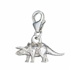 Sterling Silver Triceratops Clip On Charm