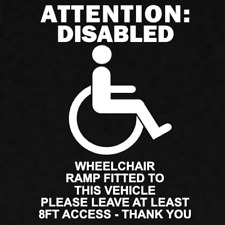 Disabled Wheelchair Ramp Vehicle Warning Decal Sticker Cut Vinyl Window Car