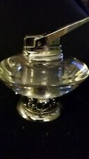 Vtg Glass Metal Ronson Table Lighter Space Age Retro Mid Century Flying Saucer