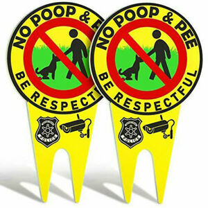 No Dog Poop & Pee Signs Luminous Lawn Yard Be Respectful Garden Stake Supplies