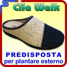 PANTOFOLA INVERNALE IN PANNO CLIA WALK BEIGE BLU PANTOFOLE PREDISPOSTA FLY 3
