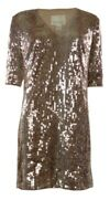 Square Sequined V-Neck Half Sleeves Shift Dress