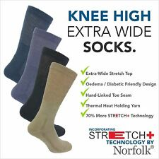 Wool - Oedema Extra Wide Knee High Socks with Stretch+ By Norfolk  - Morgan