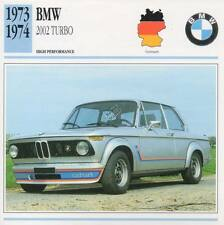 1973-1974 BMW 2002 TURBO Classic Car Photo/Info Maxi Card