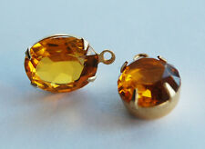 VINTAGE FACETED GLASS OVAL PENDANT BEADS BRASS • 12x10mm • TOPAZ OPEN BACK