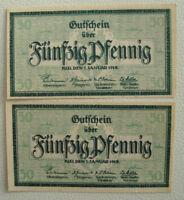 2x 50 Pfennig Notgeld Stadt Kiel 1.Januar 1918 (1055)