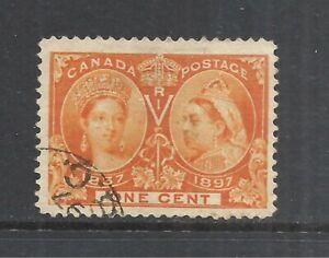 CANADA SCOTT 51 USED F/VF - 1897 1c ORANGE JUBILEE ISSUE   CV $8.00