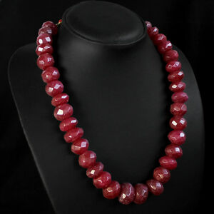 ASTONISHING 834.00 CTS NATURAL ROUND FACETED RED RUBY NECKLACE STRAND (DG)