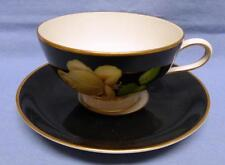 THOMAS GERMANY US ZONE TEACUP&SAUCER GORGEOUS YELLOW ROSE BLACK BACKGROUND RARE