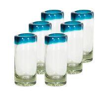 (6 Pack) Mexican Hand Blown Glass  Blue Shots Tequila - Original Artisan
