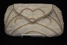 VINTAGE Handmade Beaded Clutch W/Attached WRISTLET, White & Ivory, Belgium