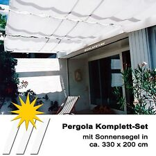 Seilspannmarkise weiss ca 330x200 cm Deko Nähte Pergola Wintergarten Beschattung