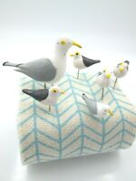 Miniature Seagull Family 6 Pin Craft Pick Terrarium Fairy Garden Dollhouse Vtg