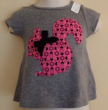First Impressions Girls' Short Sleeve T-Shirt,  Grey with Squirrel, 6-9 Mo