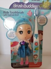 BRUSH BUDDIES KIDS TOOTHBRUSH WITH FASHION DOLL BLUE HAIR ULTRA SOFT 3+ YEARS