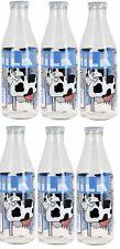 Set of 6 Glass Milk Bottles with Lid 1 litre Vintage Glass Milk Bottle White Lid