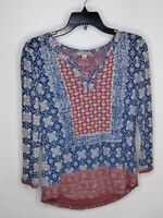 Lucky Brand Women's Blue Red Long Sleeve Shirt Top Blouse Size XS V-Neck