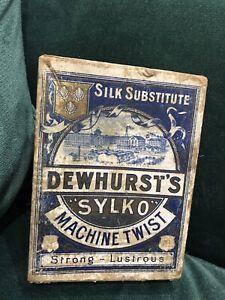 """Vintage DEWHURST'S """"Sylko"""" Machine Twist"""" Box Advertising Display"""