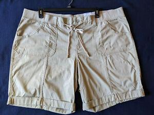 Women's SONOMA Shorts Bermuda Mid Rise Above the Knee Cotton Khaki Sz 24W NWT