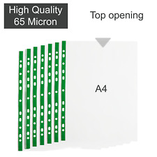A4 Clear Plastic Poly Punched Pockets Strong QUALITY Wallets Sleeves 65 micron