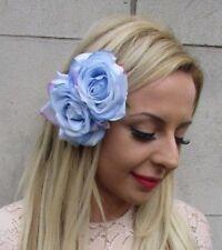 Light Cornflower Blue Double Rose Flower Hair Clip Bridesmaid Fascinator 5254