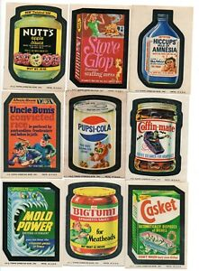 Wacky Packages 1974 Series 10 Complete set of 30 w Rare PUPSI & 7/9 of puzzle