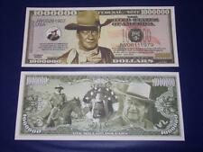 UNC.JOHN WAYNE NOVELTY NOTE ONLY .25 SHIPPING FREE SHIP + FREE NOTES!