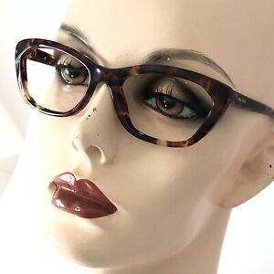 Prada Eyeglasses VPR 03Q PDN-101 Havana Tortoise Glossy Cat Eye Frames Italy